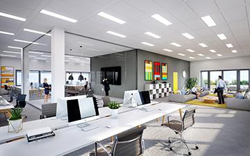 Image de synthèse 3D d'un bureau collectif moderne
