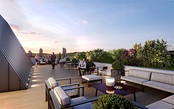 Photo en image de synthèse 3D d'un rooftop de bureaux collectifs