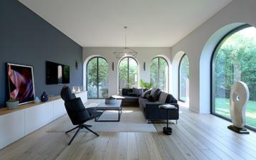 Promotion immobilière, perspective 3D d'intérieur moderne
