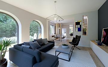 Création d'une visualisation 3D d'un salon de maison moderne pour un projet immobilier