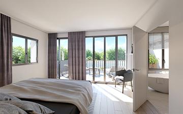 Rendu 3D d'une chambre de logement neuf moderne