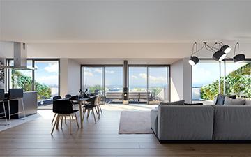 Vue 3D d'un intérieur d'appartement moderne créée par un studio de graphistes 3D