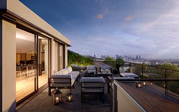 Rendu 3D d'une terrasse neuve de logement moderne pour un projet immobilier
