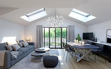 Perspective 3D d'un salon pour un projet immobilier de logement moderne - Réalisé par Valentin studio
