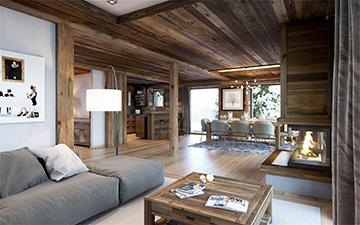 Image 3D d'un appartement de luxe à Megève pour une promotion immobilière