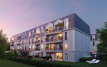 Perspective 3D extérieure d'un nouveau logement pour sa promotion