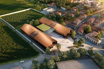 Vue 3D aérienne d'une industrie réalisée par Valentinstudio pour un concours