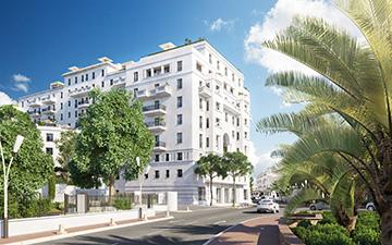 Perspective 3D de l'extérieur d'un hôtel à Cannes pour un concours par Valentinstudio
