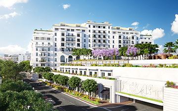 Plan d'ensemble d'hôtel à Cannes en 3D - Studio de graphistes 3D