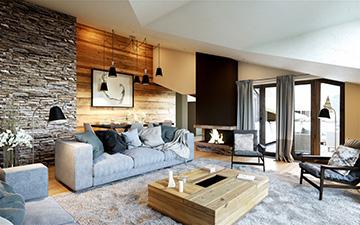Perspective 3D d'un salon de luxe d'un chalet à Chamonix