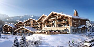 Perspective extérieure d'un hôtel-chalet de montagne dans un paysage enneigé