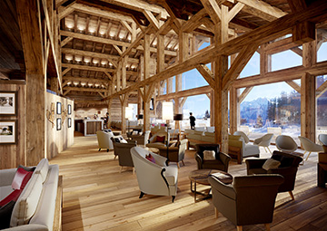 Production graphique 3D d'un hall d'hôtel-chalet en montagne