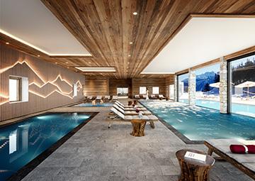 Visualisation intérieure 3D d'une piscine d'hôtel chalet à La Plagne