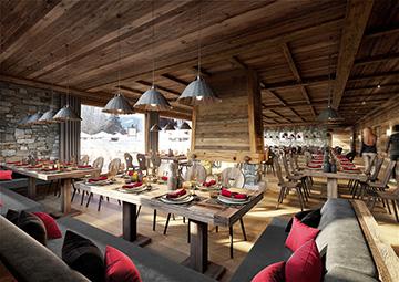 Visualisation 3D, image de restaurant dans un hôtel de montagne