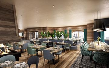 Image de synthèse 3D d'un restaurant dans un chalet-hôtel à Méribel