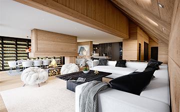 Image numérique 3D d'un salon de luxe d'un chalet à Samoens