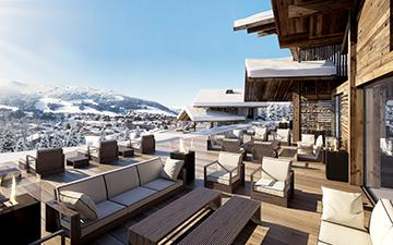 Rendu 3D de terrasse de chalet de luxe à Megève