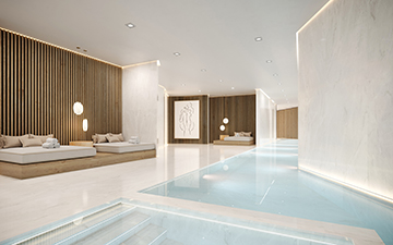 Perspective 3D d'une piscine de chalet de luxe en montagne