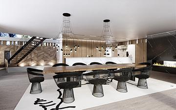 Visuel 3D d'une salle à manger dans une villa de prestige