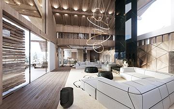 Photo 3D réaliste d'un salon dans un chalet de luxe
