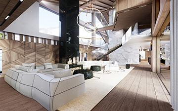 Perspective 3D d'un salon pour un projet immobilier de chalet de luxe