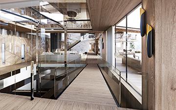 Vue en perspective 3D de l'intérieur d'un chalet de luxe à Megève par un studio 3D