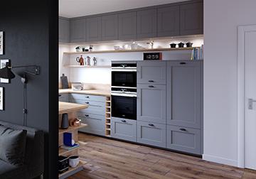 Rendu 3D d'une cuisine moderne pour un projet publicitaire