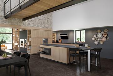 Perspective 3D de cuisine dans un intérieur moderne