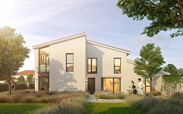 Visualisation architecturale 3D de la façade d'un logement neuf