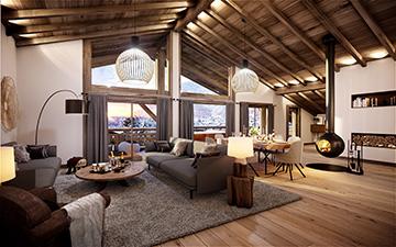Vue 3D d'un appartement de luxe dans un chalet à Chatel