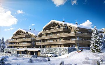 Vue 3D d'extérieurs de chalets à Chatel dans un paysage enneigé