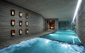 Perspective 3D d'une piscine pour un chalet de luxe à Courchevel