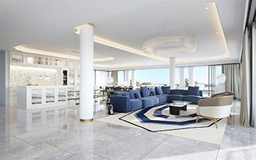 Création 3D d'une image de salon de luxe dans une villa à Nice - Valentin studio