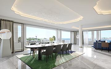 Photo 3D réaliste d'un intérieur de villa de prestige à Cannes