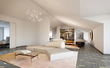 Perspective 3D de salon dans une villa à Cannes