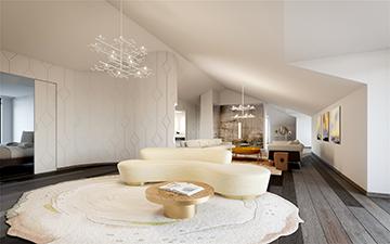 Visualisation 3D d'un salon de luxe pour une villa à Cannes