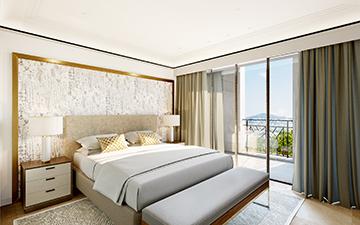 Images promotionnelle d'une chambre en 3D pour un projet immobilier de luxe