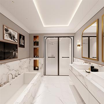 Perspective 3D d'une salle de bain dans une villa à Cannes
