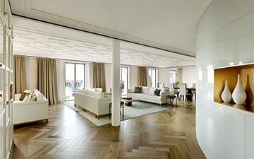 Perspective 3D de salon dans une villa de luxe