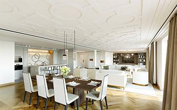Perspective de salle à manger dans une villa pour un projet immobilier de luxe