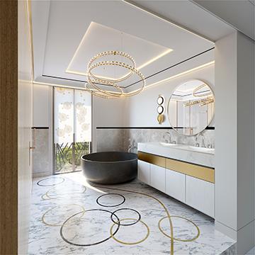 Rendu 3D réaliste d'une salle de bain de luxe dans une villa à Cannes