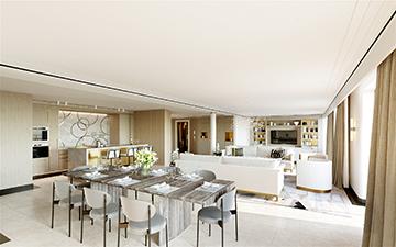 Perspective 3D de salon et salle à manger pour un projet immobilier de luxe