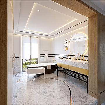 Visualisation 3D d'une salle de bain de luxe dans une villa