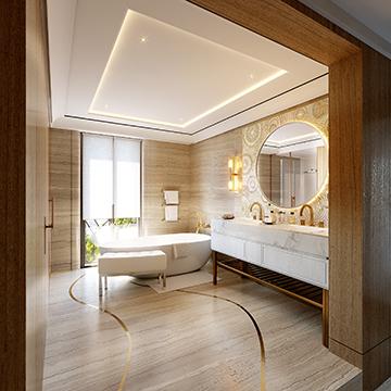 Rendu 3D d'une salle de bain de luxe en image de synthèse