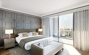 Perspective 3D de chambre pour un projet immobilier de luxe