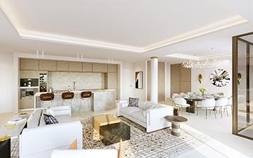 Perspective 3D de l'intérieur d'une villa à Cannes