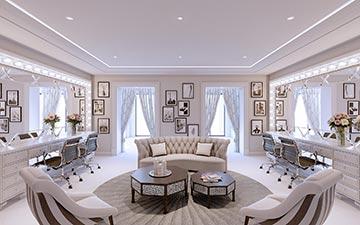 Visualisation 3D d'un salon de coiffure dans une villa de luxe