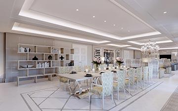 Création 3D d'une salle à manger d'une villa de luxe à Paris