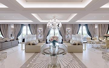 Vue 3D de l'intérieur d'une villa de luxe aux couleurs claires