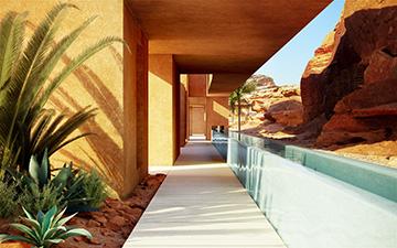 Perspective 3D d'un passage extérieur dans une villa au Maroc
